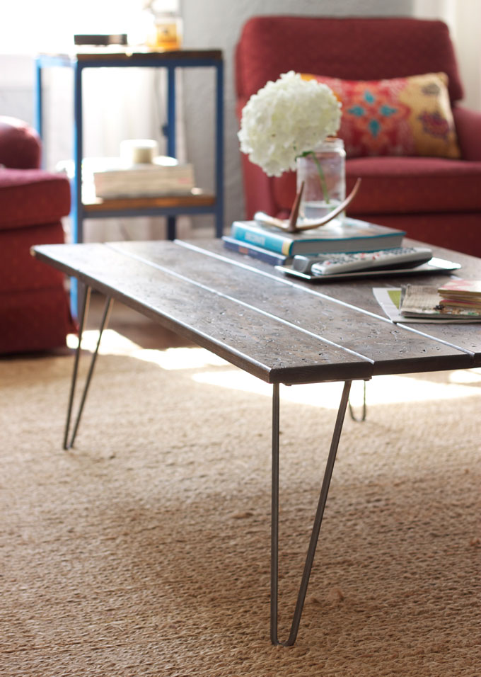 Cheap easy coffee table for Cheap hairpin legs